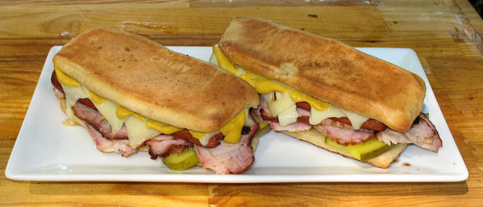 Jamaican Hot Dog Cuban Sandwich -- Naked Whiz Ceramic Charcoal Cooking